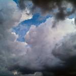 Cumulus-Wolken / Quellwolken am Ende des Sprungtages